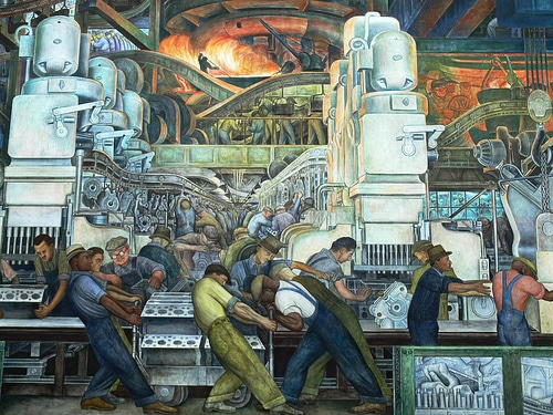 "Rivera considered one of his finest works to be ""Detroit Industry."" A series of 27 fresco panels, covering 447 square yards, it was completed with the support of Henry Ford between 1932-1933 for the Detroit Institute of Arts. In the epic mural, he expertly captured men of differing skills and ethnicity all toiling together in a cavernous automobile factory to achieve the same end result: putting America on wheels and down the road.  One can almost smell the oil, soot and metal dust when standing in front of this huge, striking snapshot of a day in the life of 1930's industrial America."