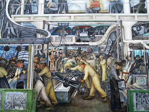 Diego Rivera detroit industry painting mural factory workers