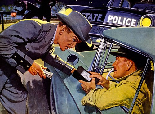 vintage illustration man getting pulled over by police showing ID