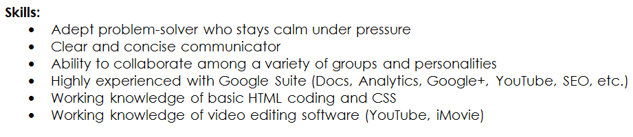 Resume part for skills section include coding character and traits.