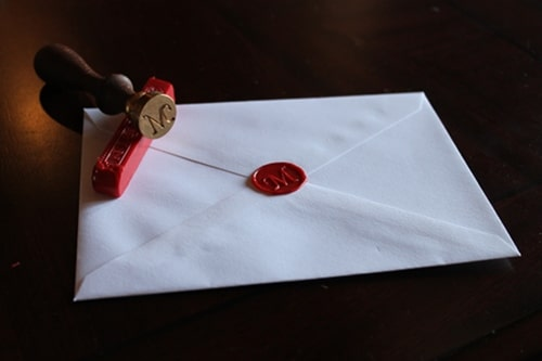 wax seal envelope with stamp