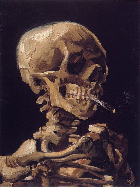 Vincent van Gogh skull with burning cigarette painting