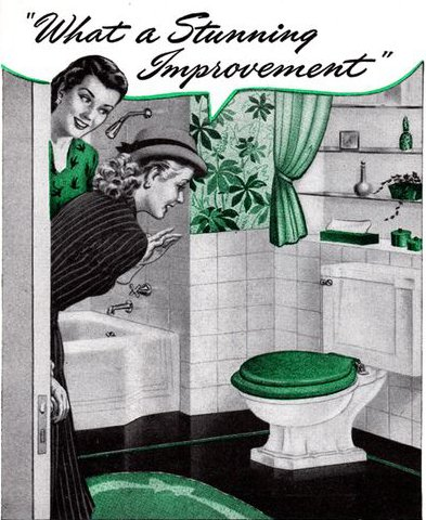vintage ad advertisement for toilet ladies looking in bathroom