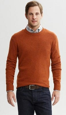 layering sweater over button up long sleeve shirt