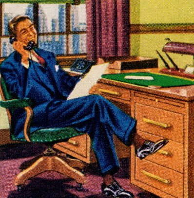 vintage illustration businessmen sitting in office at desk on phone