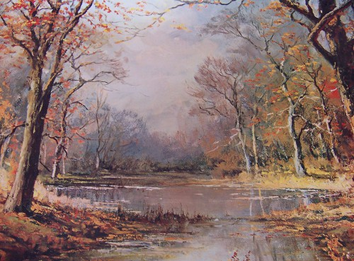 Robert Wood forest in the fall pond painting outdoors art.