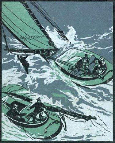 Vintage boat painting illustration.