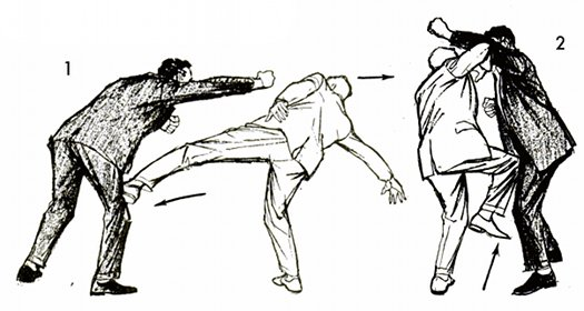 Vintage self defense illustration businessman defend boxer.