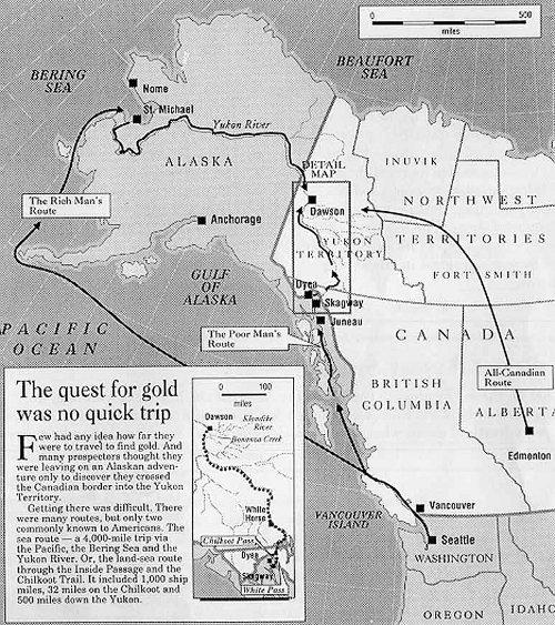 Yukon gold Alaska map routes to Canada.