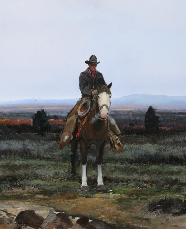 Nicholas Coleman in the shadow painting old west art.