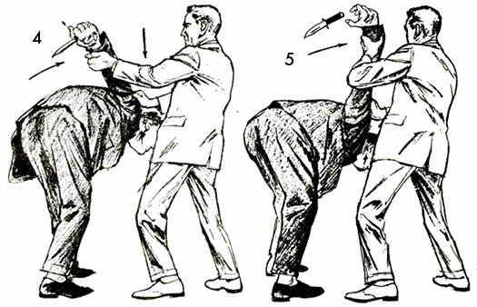 Vintage self defense illustration businessman defend against knife.