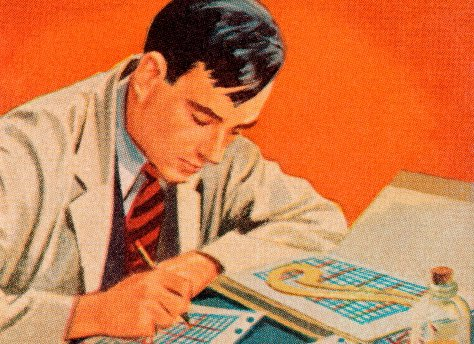 vintage businessman working on charts graphs illustration