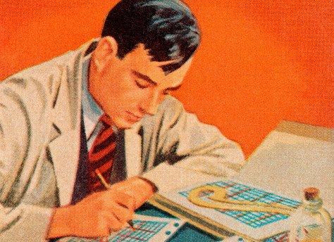 Vintage businessman working on charts graphs illustration.