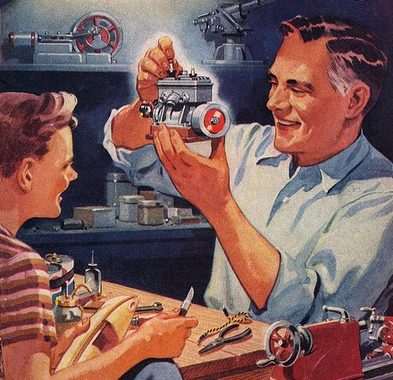 vintage ad with son in garage workshop working on machines