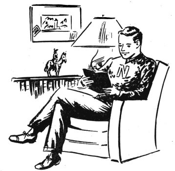 vintage young man sitting in comfortable chair reading illustration