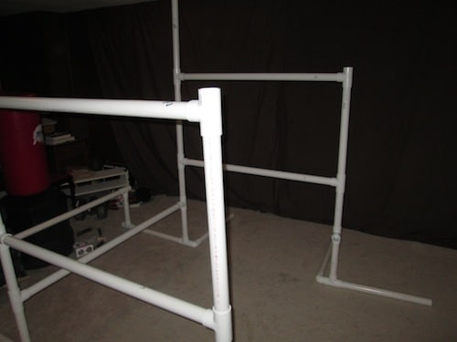 Step 14: Place your next cross beam (4 foot PVC pipe) into both ends of the open T sections.