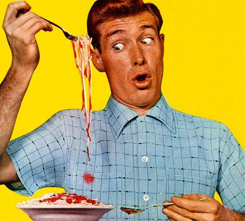 Vintage illustration man eating spaghetti stain on shirt.