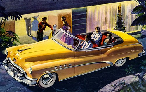 vintage illustration man in yellow car using valet at hotel