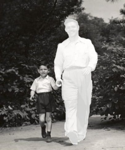 vintage dad with son walking dad grayed out missing from picture