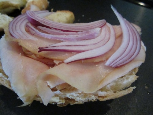 Victor insisted that the onion go between the meat and cheese.