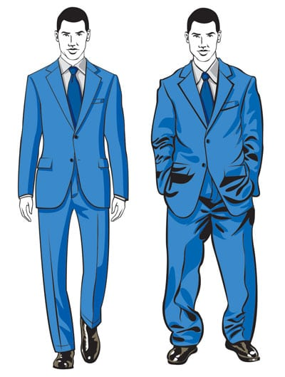 Most men wear a suit 2 sizes too large.  Fit matters - a lot.