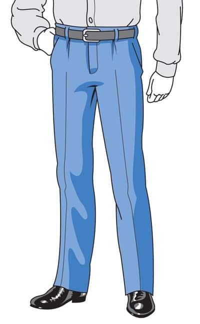 illustration how suit pants should fit