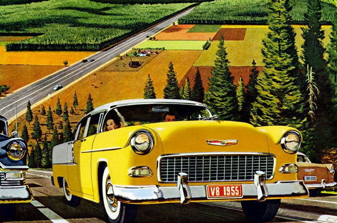 Vintage illustration yellow car automobile on highway farmland.