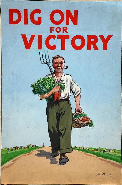 Vintage gardening poster dig on for victory.