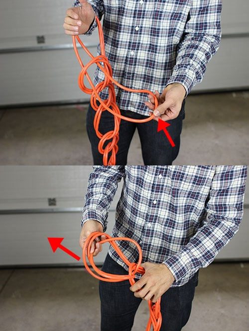 Wrap extension cord tie off end.