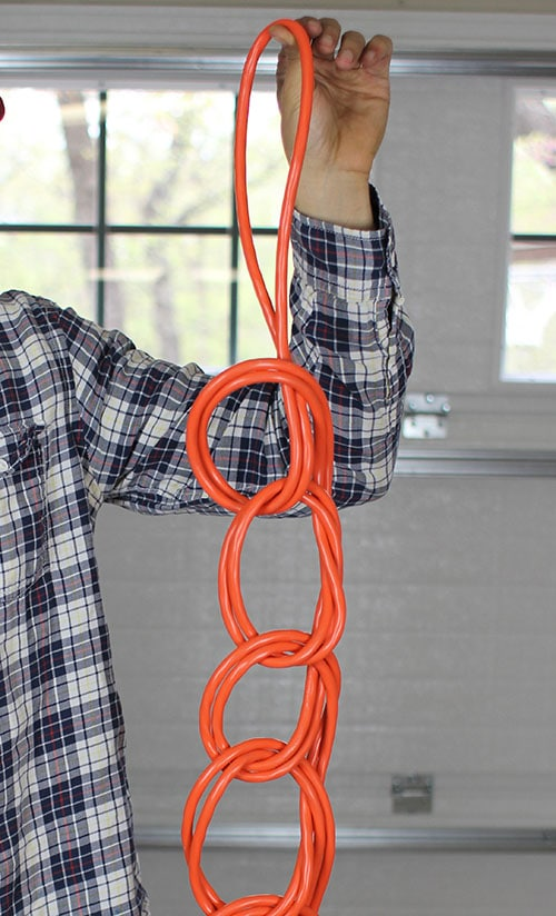 Wrap extension cord finished product series of knots.