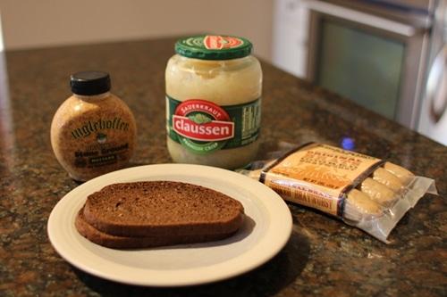 ingredients for bratwurst sandwich