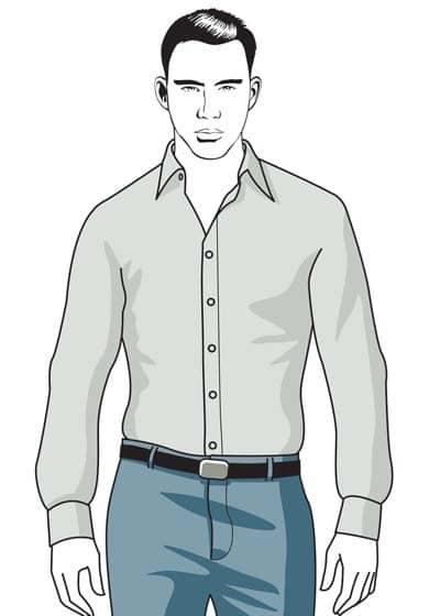 illustration well-fitting button up dress shirt