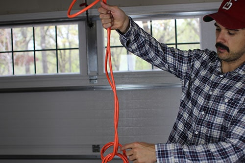 Vintage unravel extension cord, pull out the end to undo the overhand knot finished.
