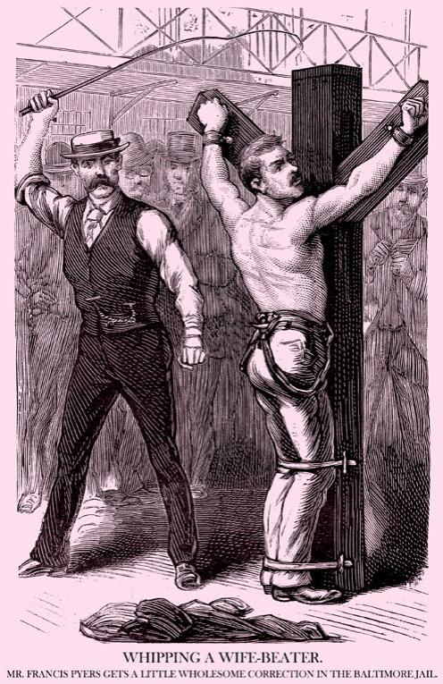 vintage police gazette illustration man being whipped