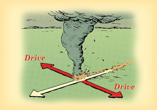 tornado diagram which direction to drive car illustration