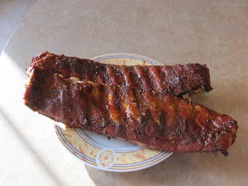 homemade smoked bbq barbecue ribs on plate