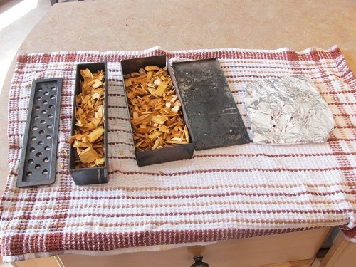 woodchip smoker boxes on table