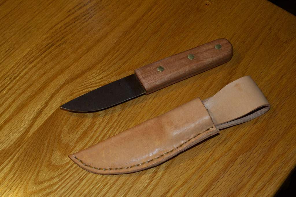 Homemade knife and DIY leather sheath.