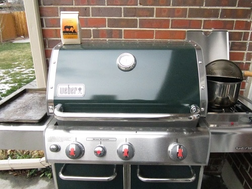 weber grill with home coffee roasting supplies