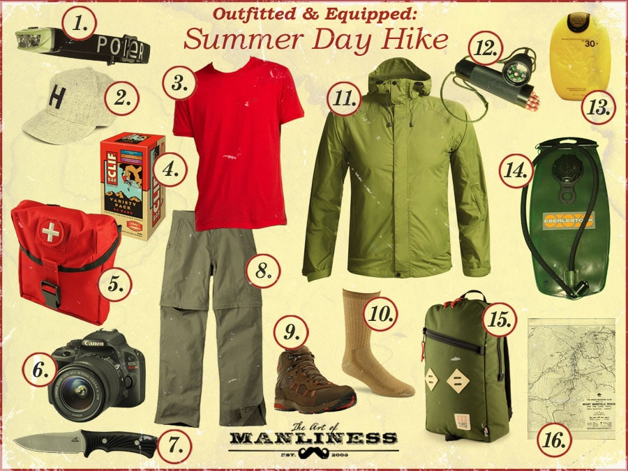What to bring and wear for a summer day hike.