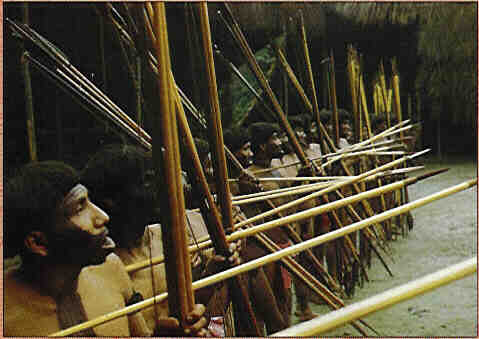 yanomamö tribesman war party longbows and spears
