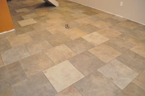 tile floor with fresh diy grout