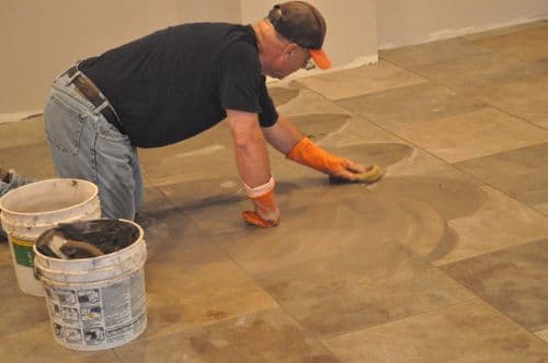 sponging tile joints fresh grout