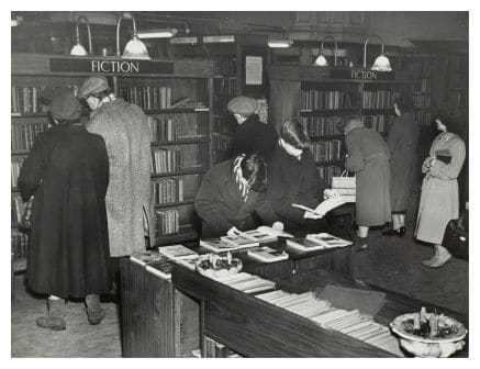 vintage bookstore library customers milling around