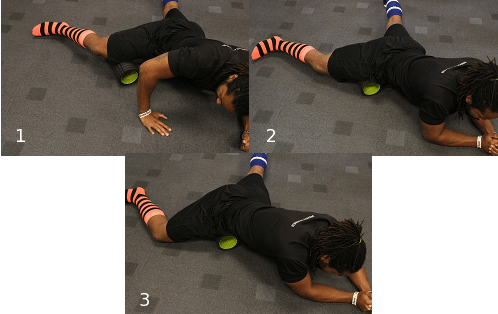 using foam roller on inner quad thigh muscles