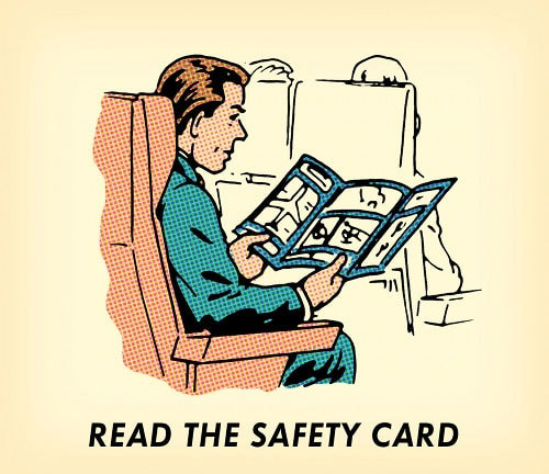 man on airplane reading safety card illustration
