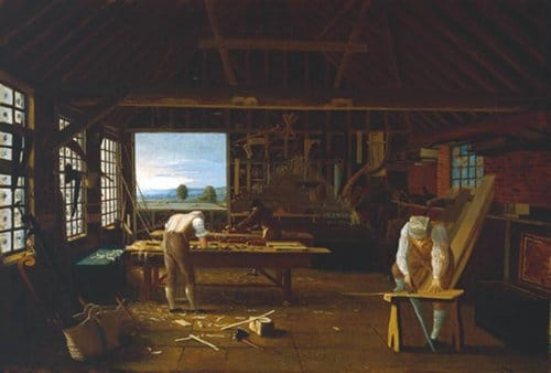 Painting of woodworkers craftsman working in workshop.