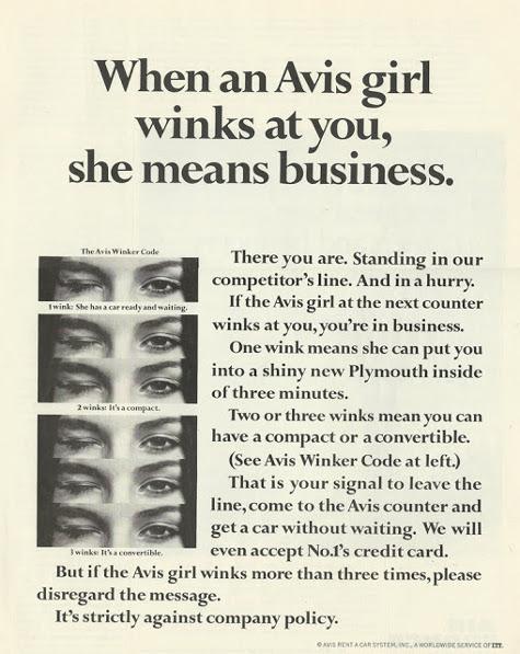 Vintage Avis rental car ad advertisement.