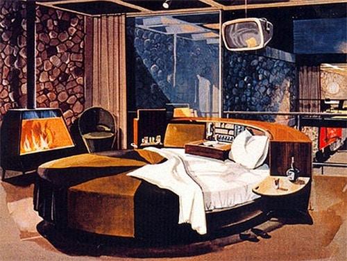 vintage bachelor bad illustration mid century round bed