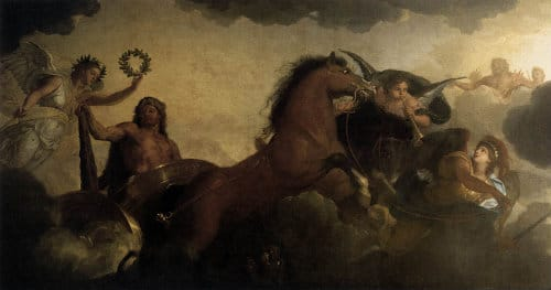 ancient greek gods painting battle scene with horse